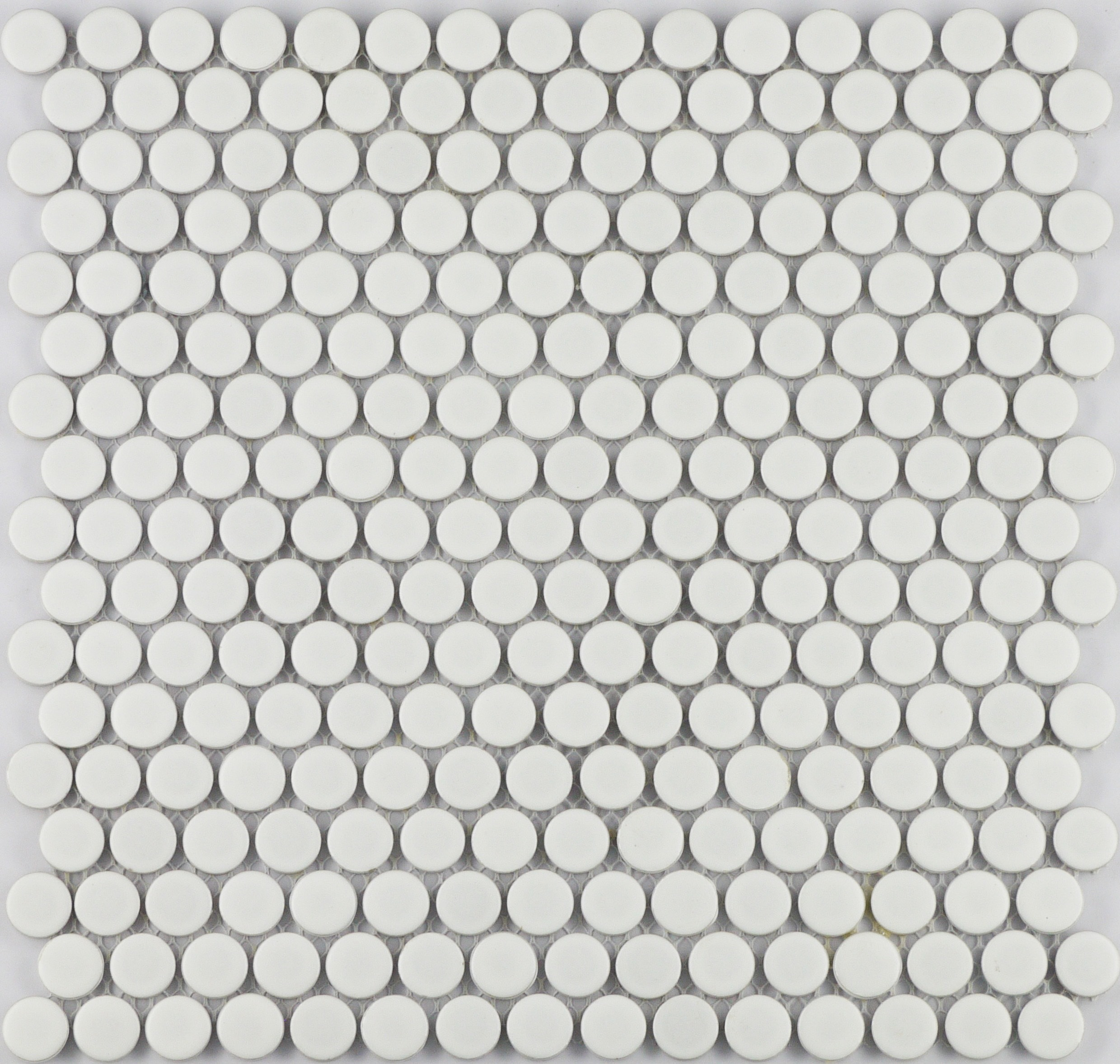 "White Matte Penny / 3/4"" / Matte Finish Porcelain Mosaics Penny Rounds 0"