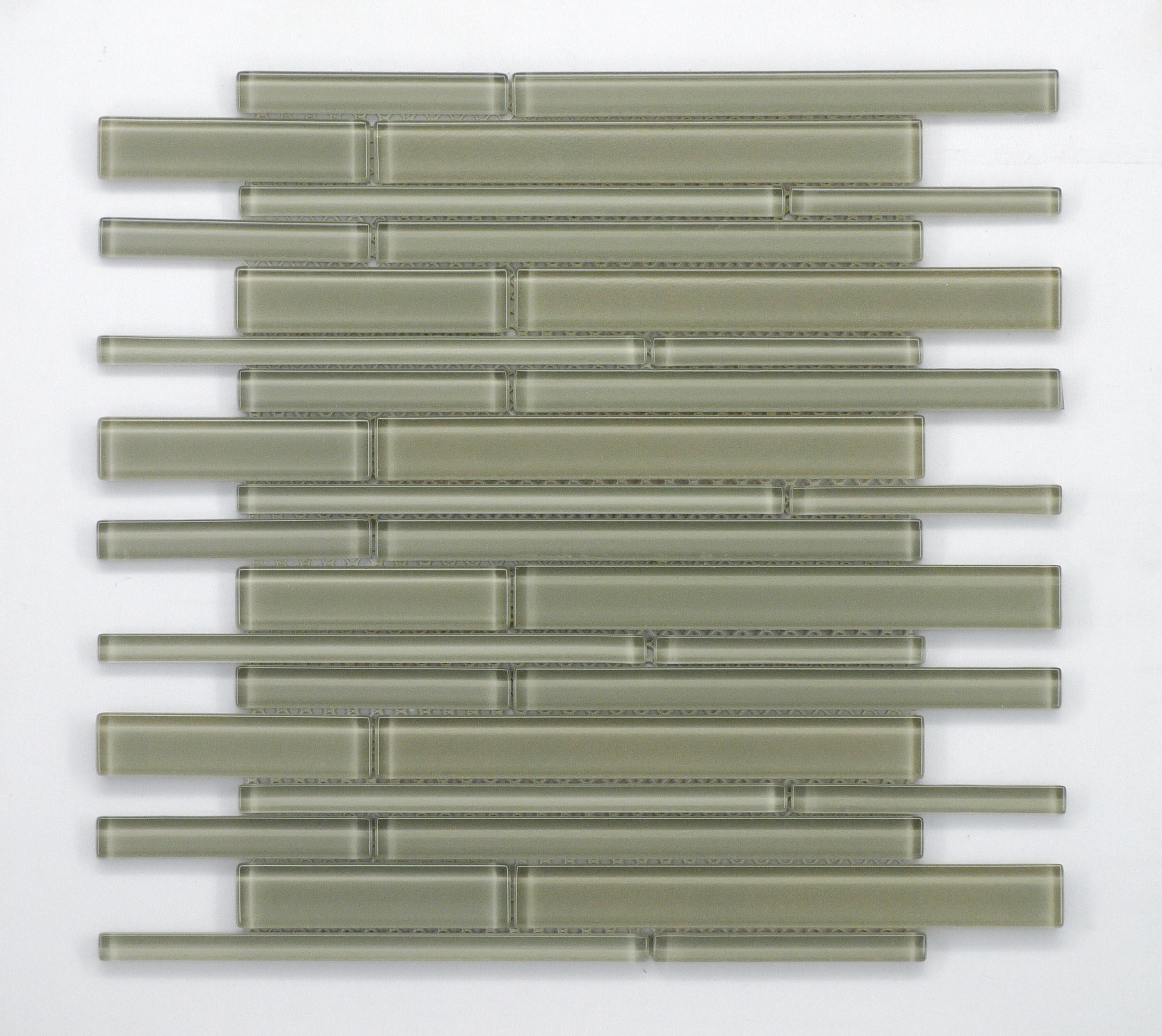 "TAUPE GLASS BAR MOSAICS / 12.5"" X13.5""X.25"" / GLASS Random Bar Glass Mosaics 0"
