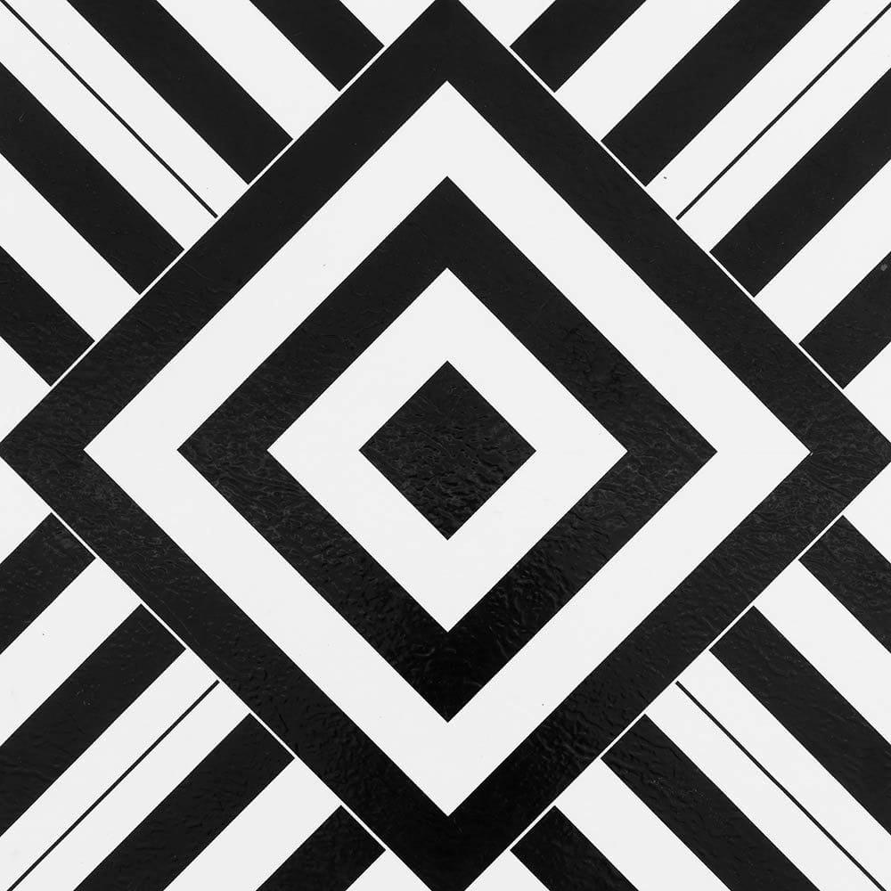 White & Black Geometric / 1.5mm / PVC / Peel & Stick Vinyl Tile - 1.5mm PVC Peel & Stick - Retro Collection 0