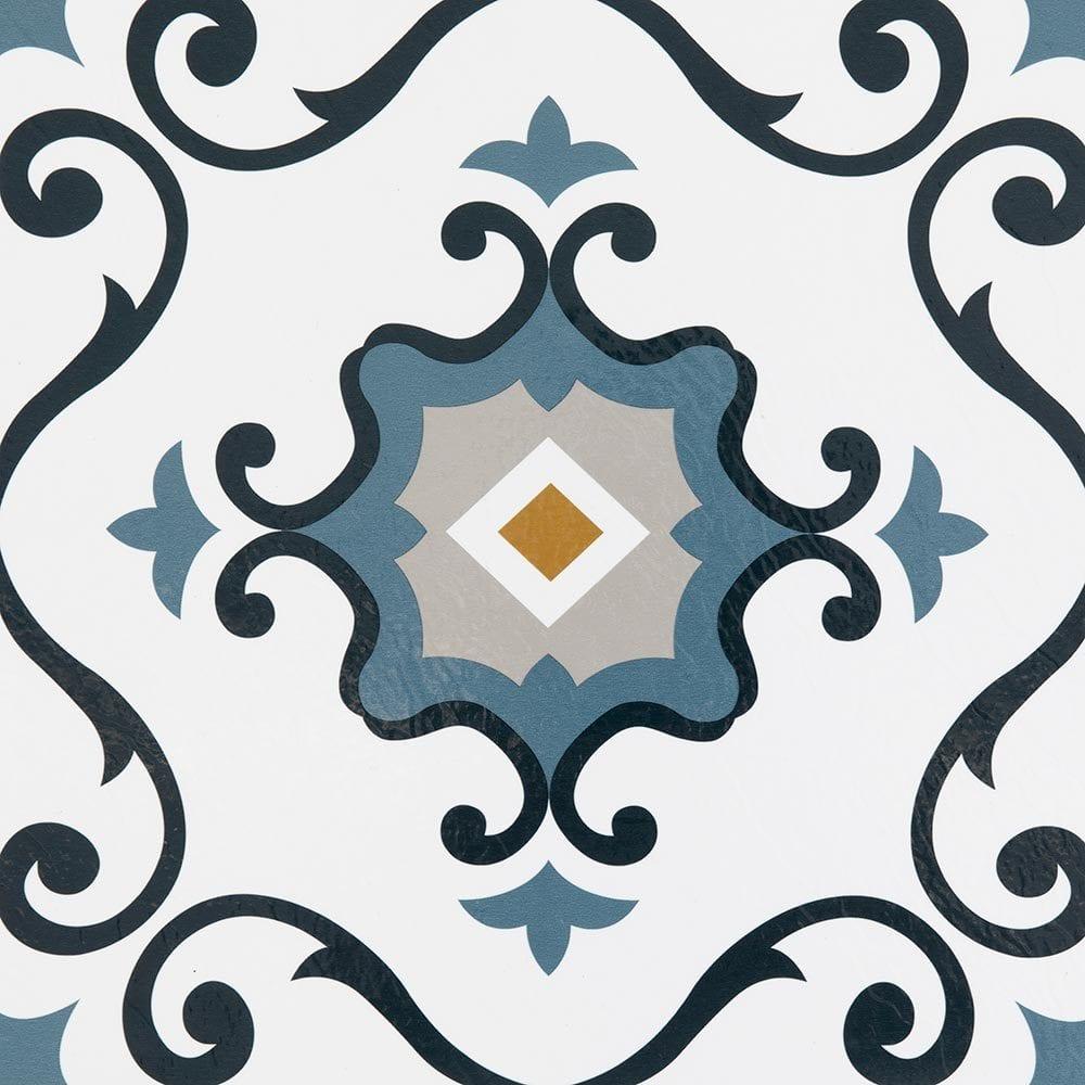 White & Retro Light Blue / 1.5mm / PVC / Peel & Stick Vinyl Tile - 1.5mm PVC Peel & Stick - Retro Collection 0
