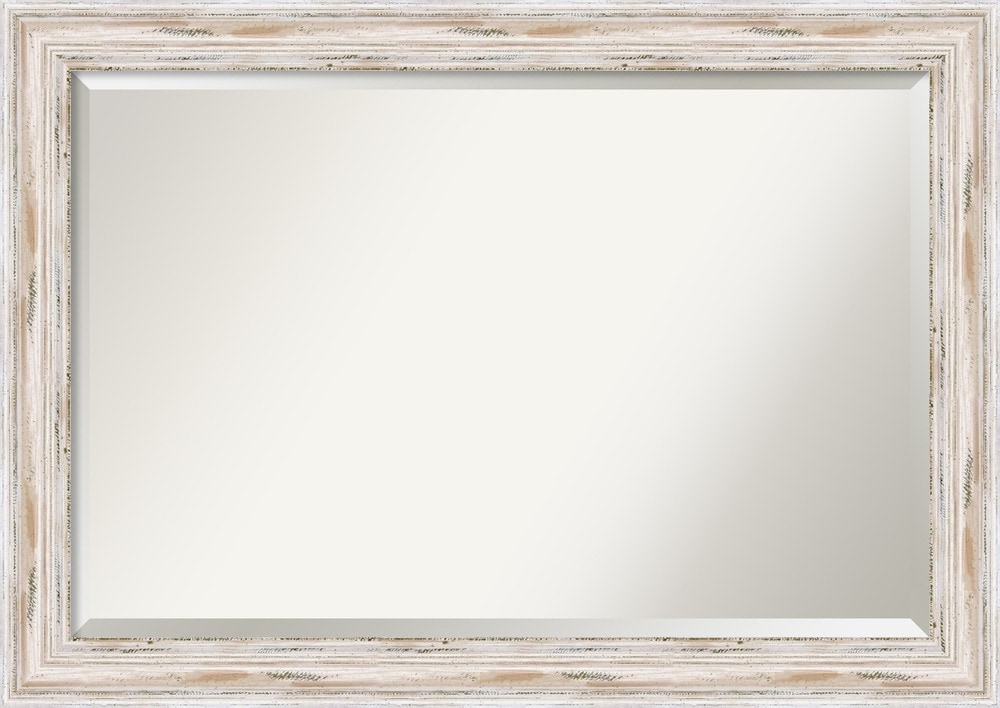 Amanti art alexandria whitewash wall mirror extra large for Large white framed mirror