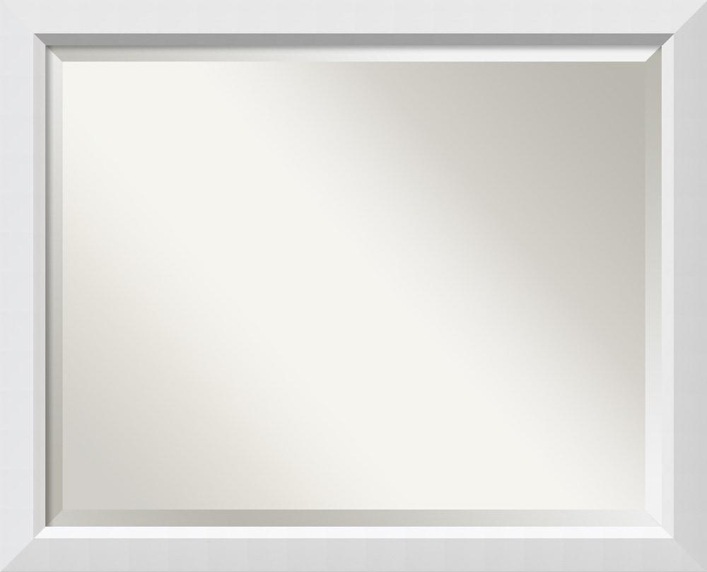 Amanti art blanco wall mirror large 32 x 26 inch framed for Large white framed wall mirror