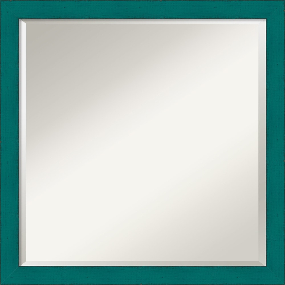 Amanti art french teal rustic wall mirror square 22 x 22 for Teal framed mirror
