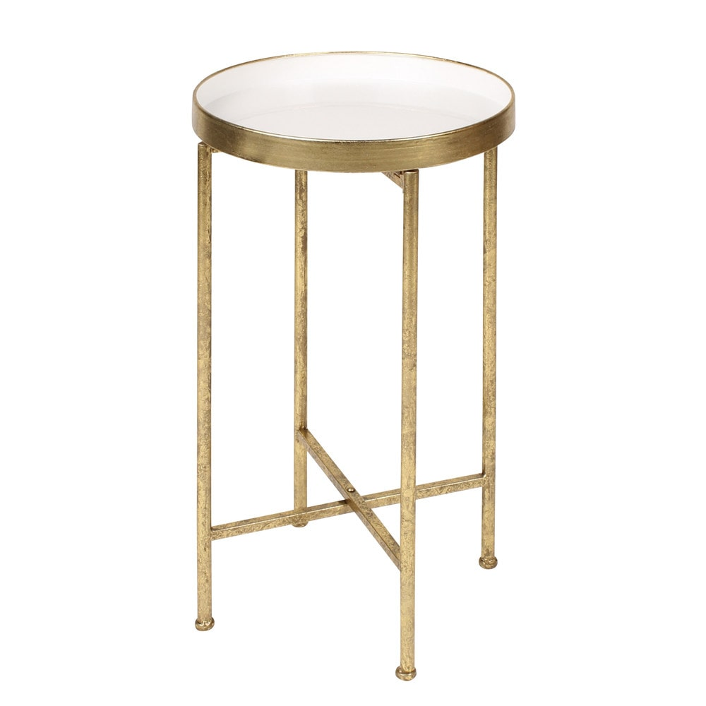 Kate and laurel deliah round metal accent table end table for Accent end tables