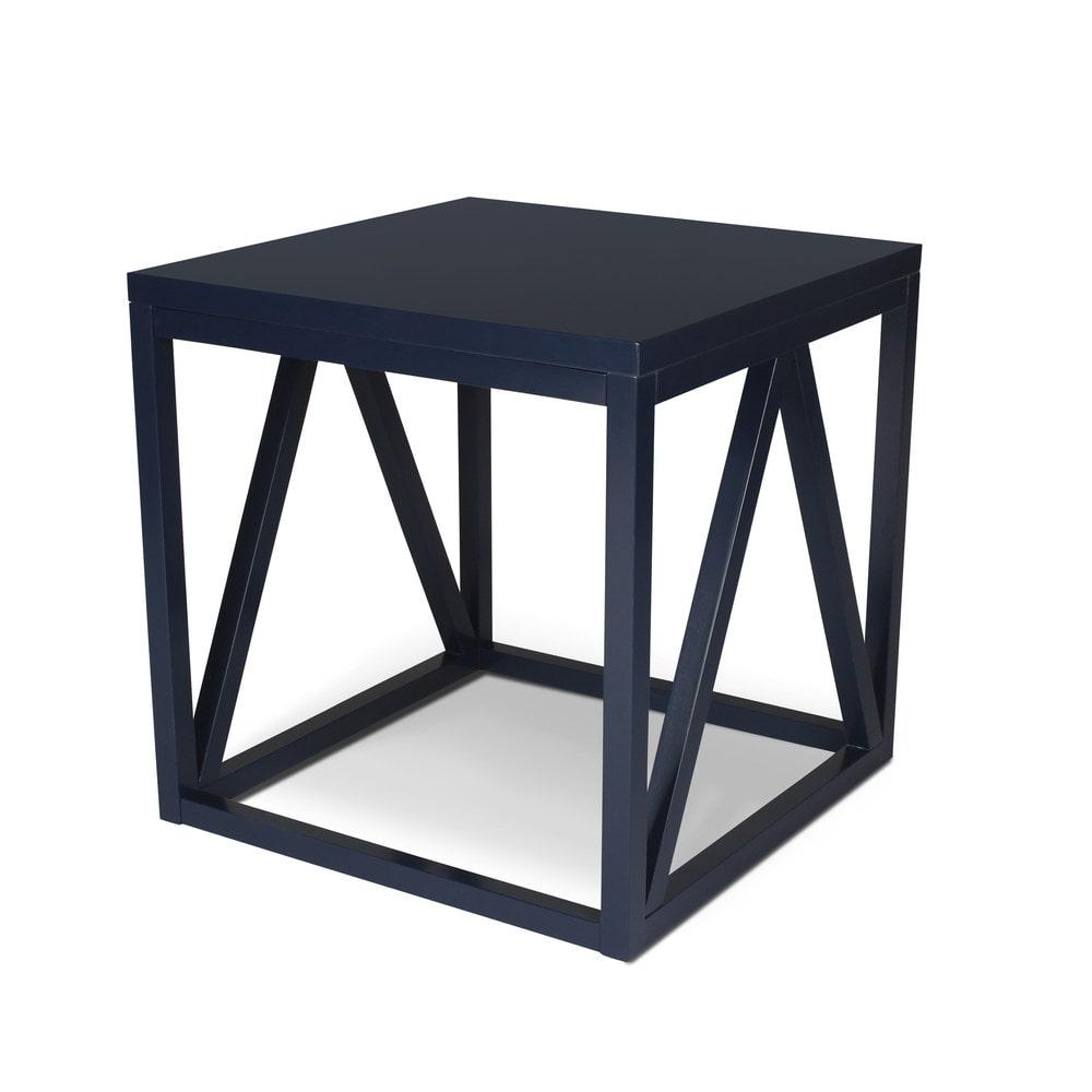 kate and laurel kaya wood cube side table coffee tables side tables 1 navy blue 210047. Black Bedroom Furniture Sets. Home Design Ideas