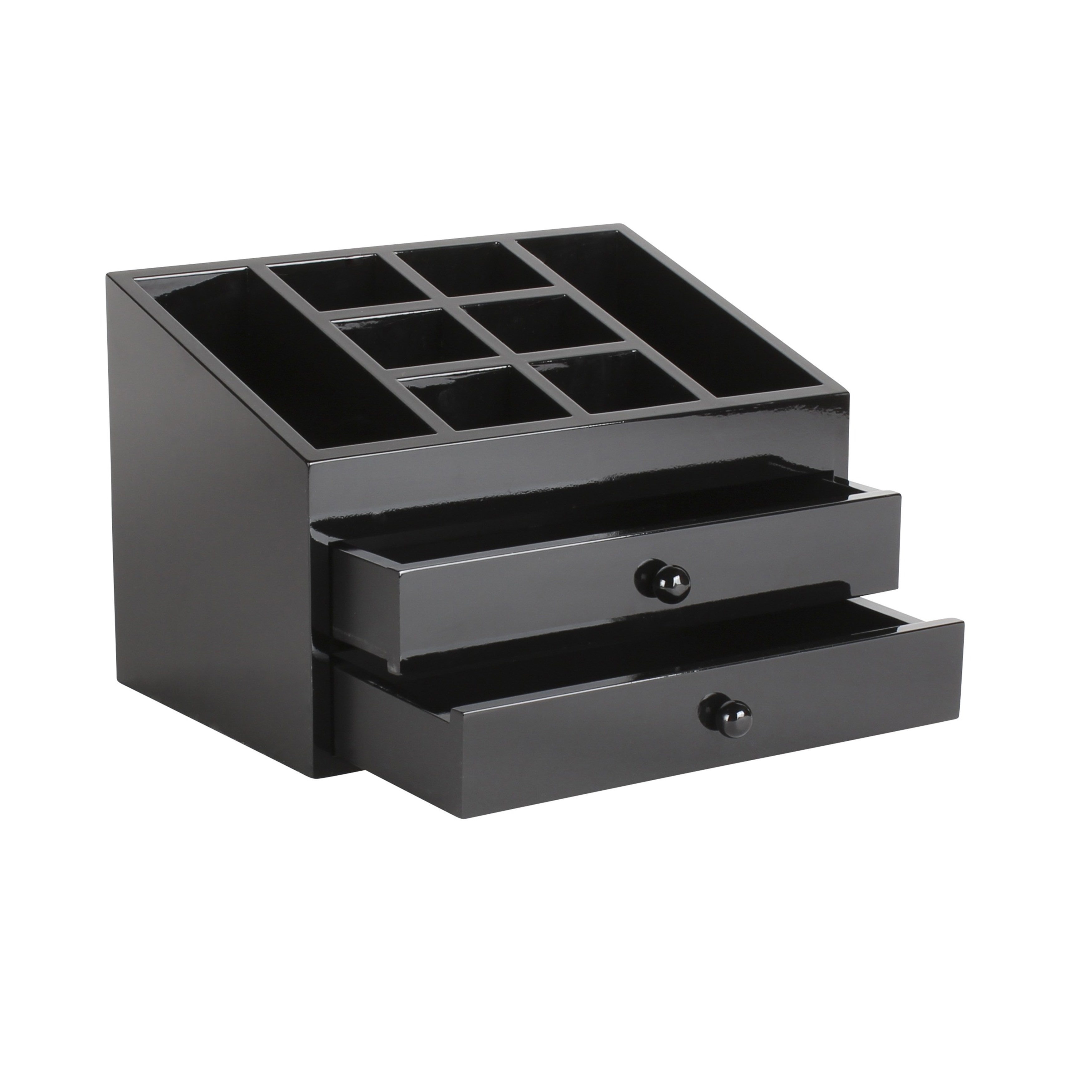 Vanity Organizer / Black Dori Jewelry and Cosmetic Organizer Box with 2 Drawers 0