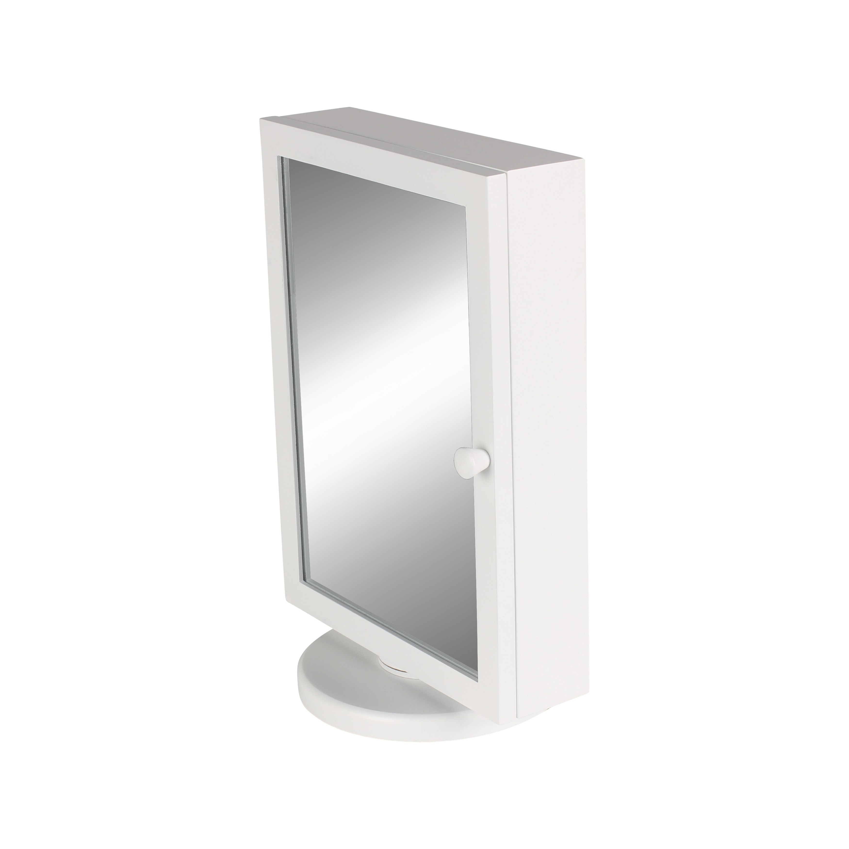 Vanity Organizer / White Justine Jewelry Armoire with Mirror Door and French Memo 0