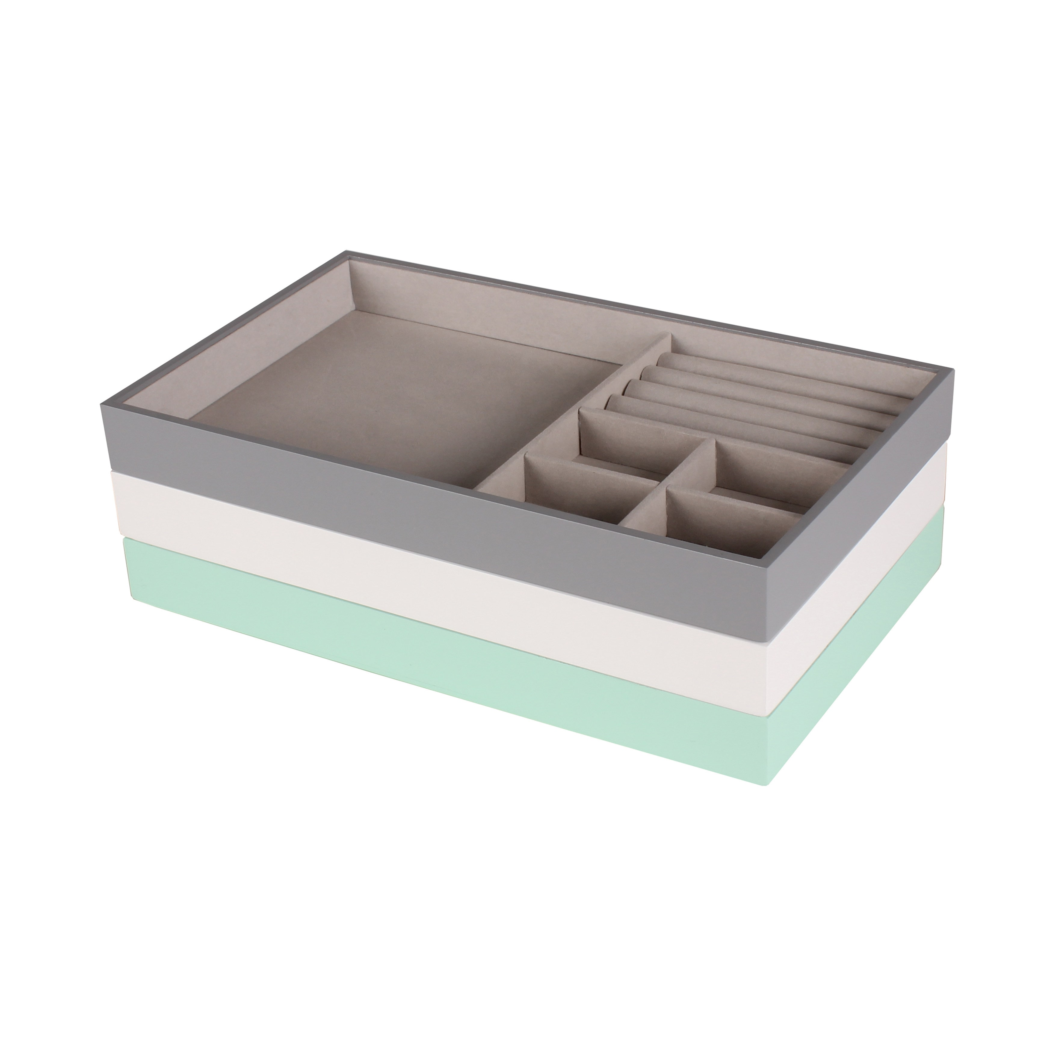 Vanity Organizer / Mint, Gray, and White Myrcella Jewelry Storage Stackable Trays, Set of 3 0