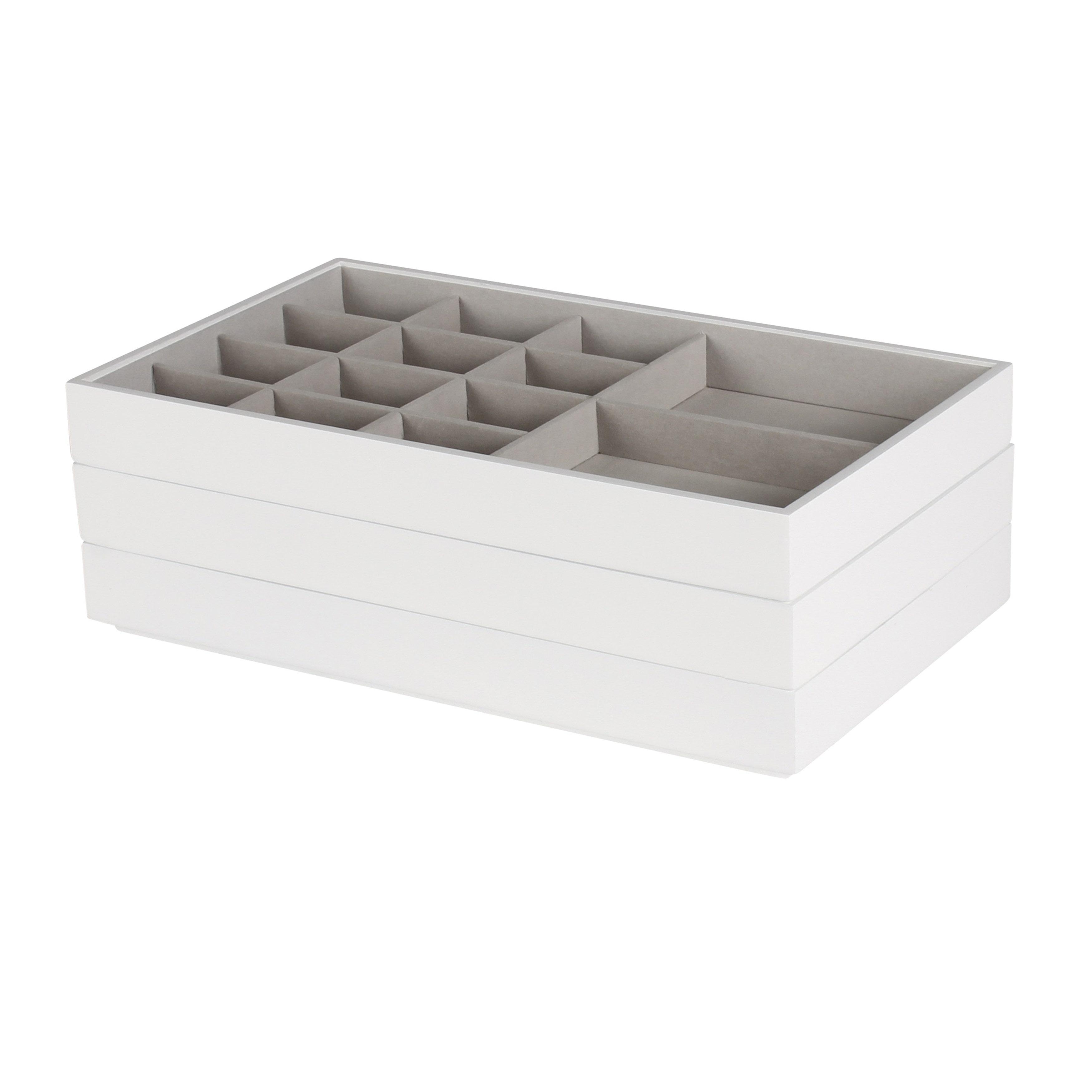 Vanity Organizer / White Myrcella Jewelry Storage Stackable Trays, Set of 3 0