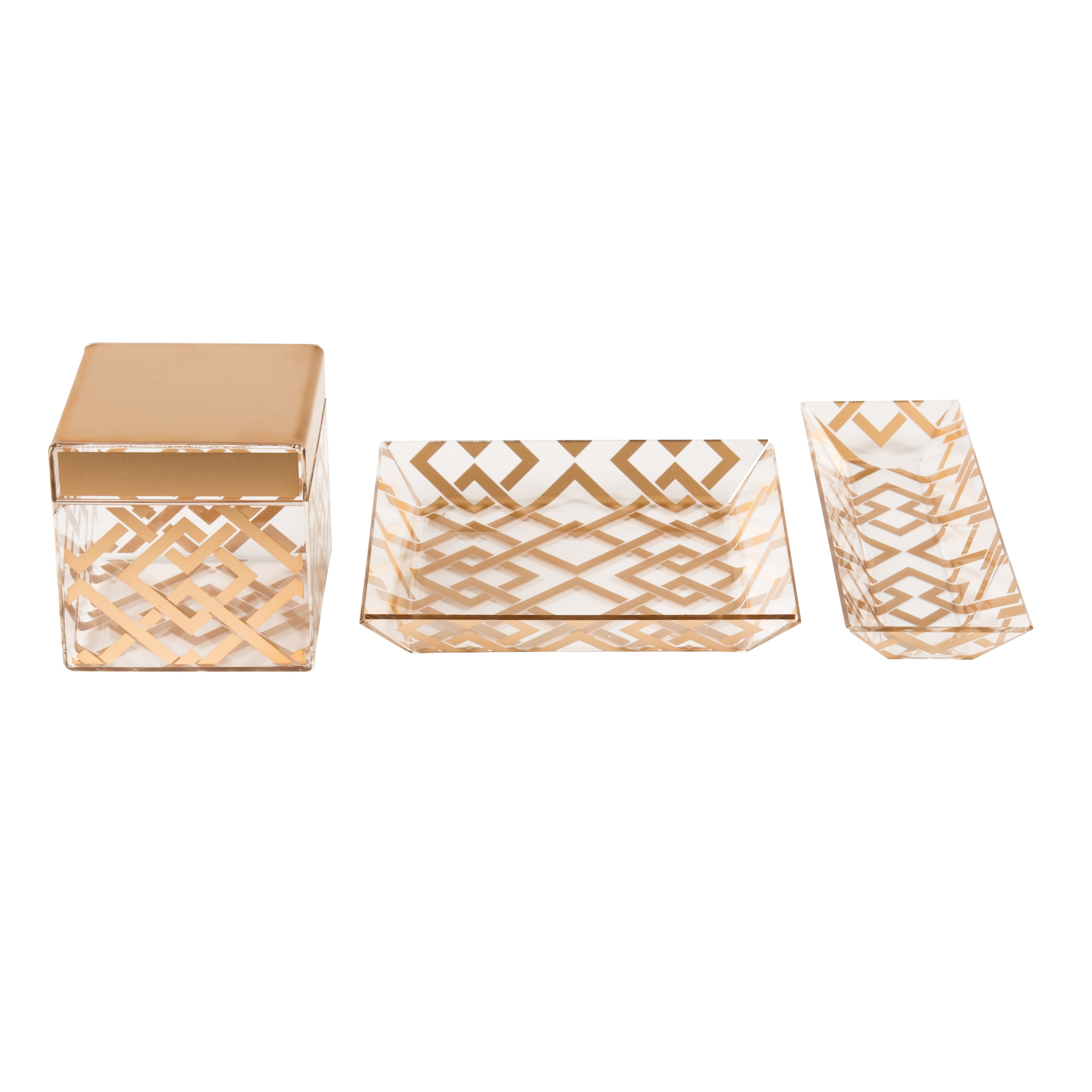 Vanity Organizer / Gold Luxe Lattice 3 Piece Acrylic Desk Set, Gold 0