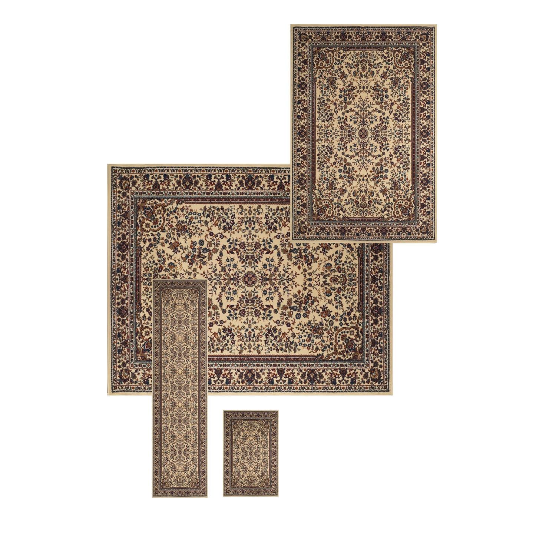 Sarouk - Ivory / 4 PIECE SET Athena Collection 'Sarouk' Indoor Rug 0