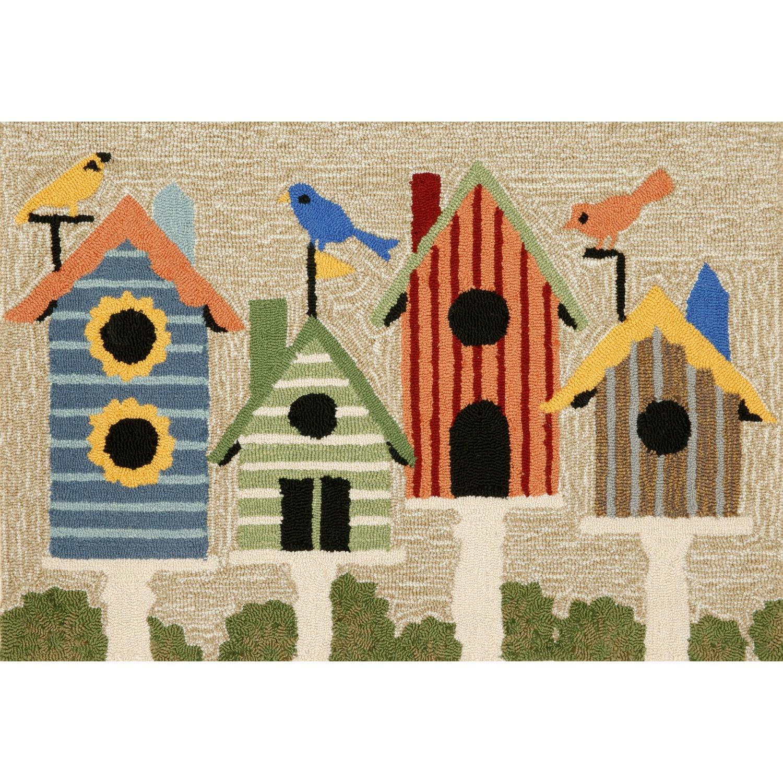 "Birdhouses - Multi / 20""X30"" Frontporch Collection 'Birdhouses' Indoor/Outdoor Rug 0"