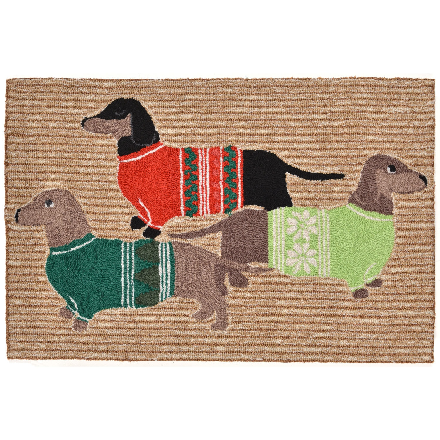 """Holiday Hounds - Neutral / 20""""X30"""" Frontporch Collection 'Holiday Hounds' Indoor/Outdoor Rug 0"""