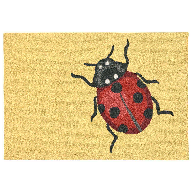 "Ladybug - Yellow / 20""X30"" Frontporch Collection 'Ladybug' Indoor/Outdoor Rug 0"