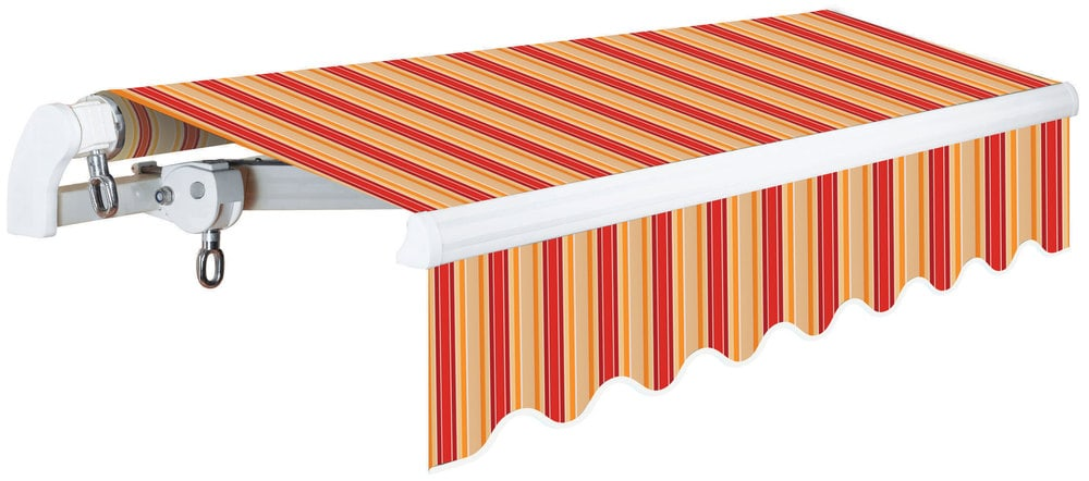 Advaning Slim SSeries Manual Retractable Awning RedBeige Stripes - 10 ft stainless steel table