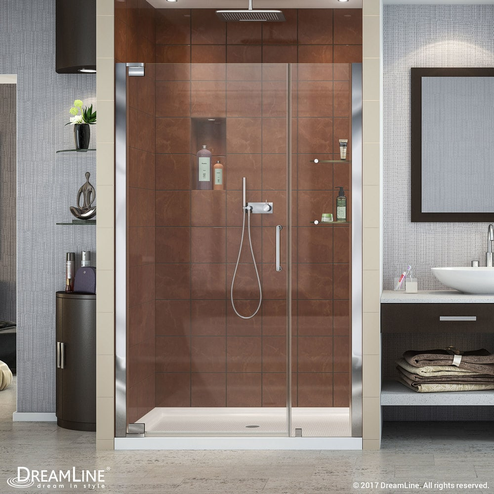 Dreamline elegance frameless pivot door slimline 36 x48 for Front door not centered