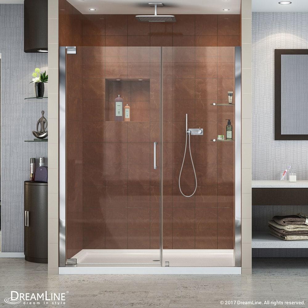 Dreamline elegance frameless pivot door slimline 32 x60 for Front door not centered