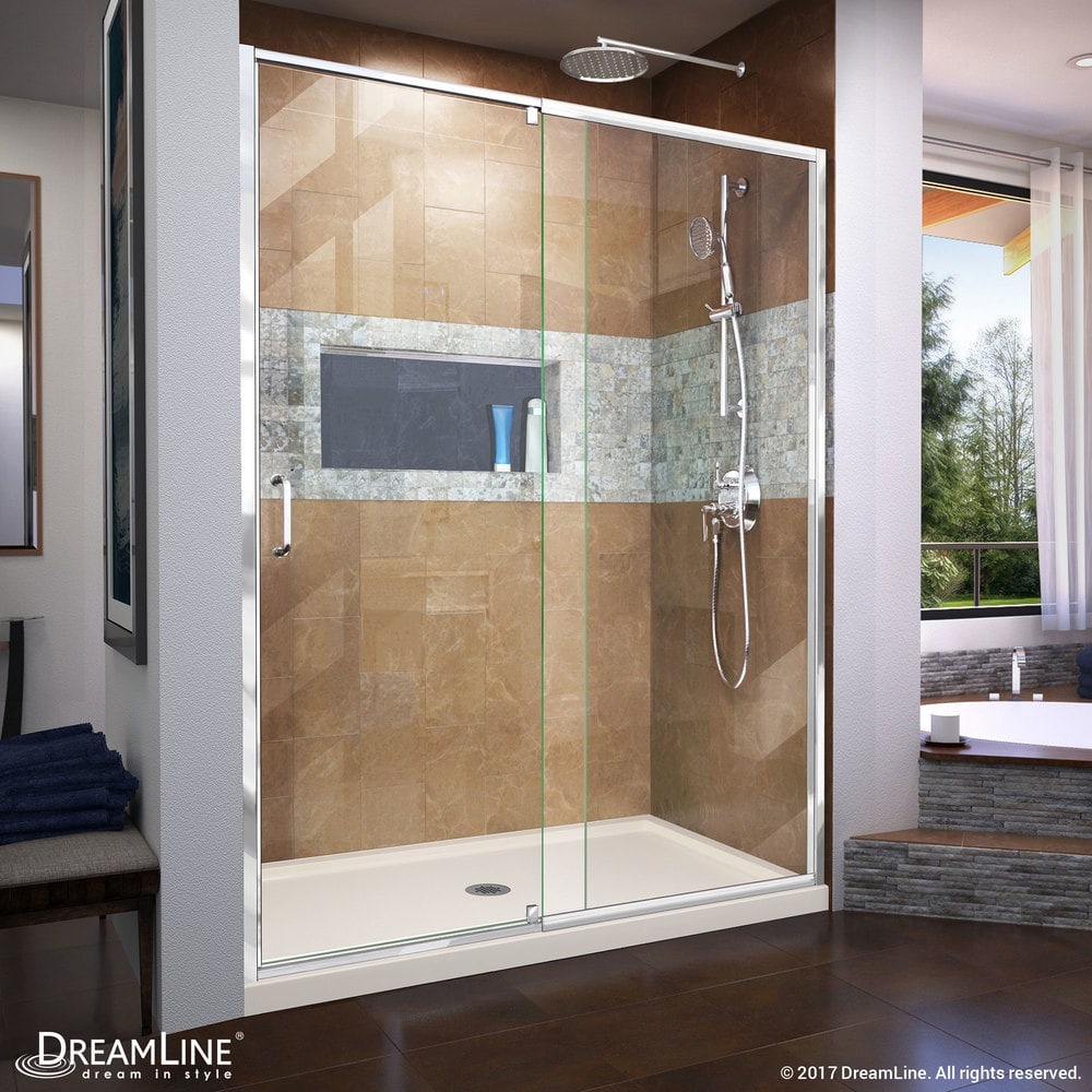 DreamLine Flex 32in.Dx60in.W Semi-Frameless Shower Door w/Center ...