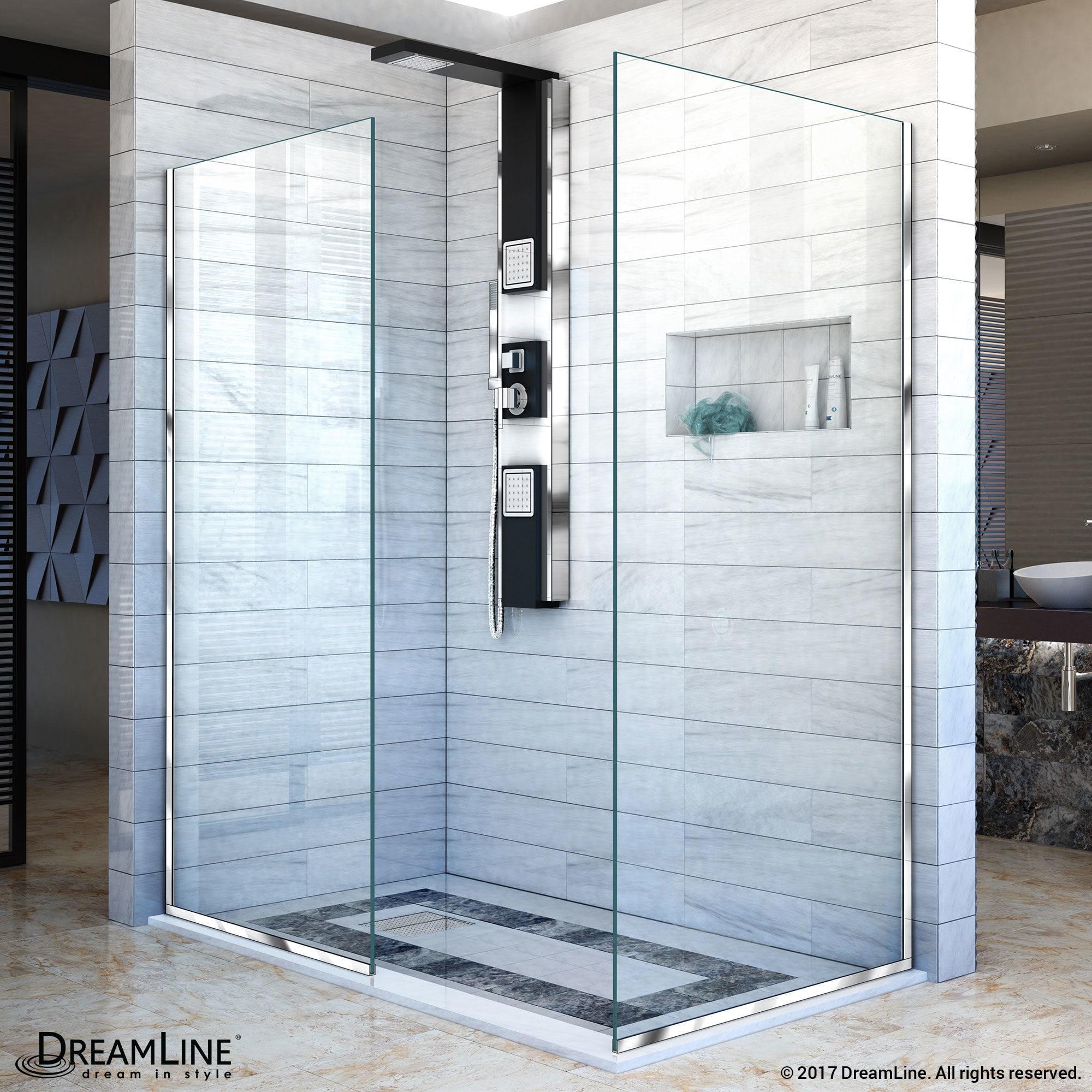 DreamLine Linea Frameless Shower Door. Two Glass Panels: 34\