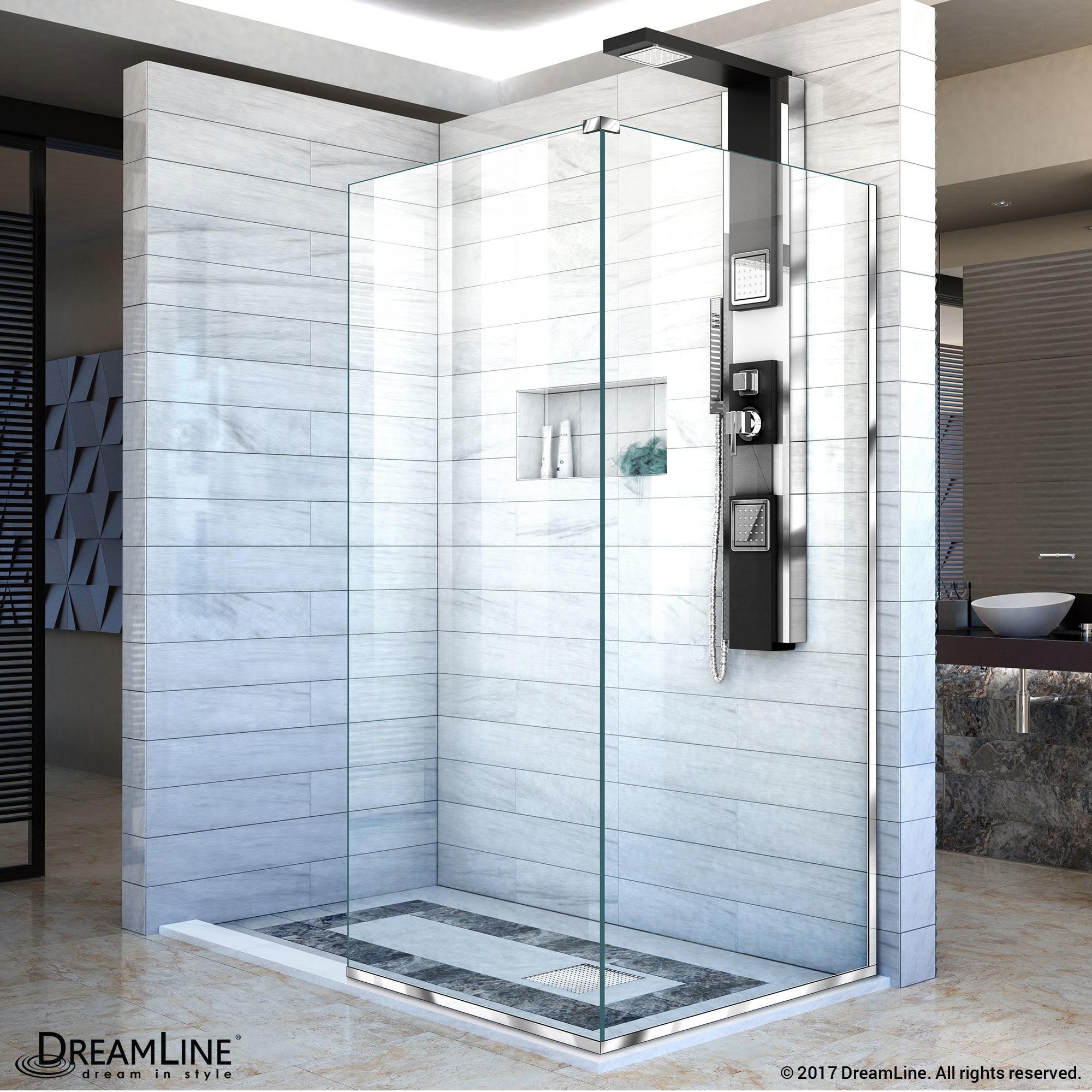 DreamLine Linea Frameless Shower Door. Two Attached Glass Panels: 30 ...