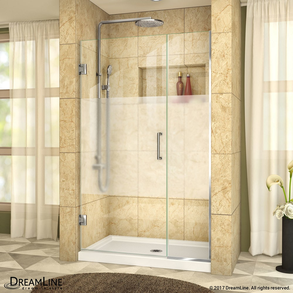Dreamline Unidoor Plus 425 43wx72h Hinged Half Frosted Glass