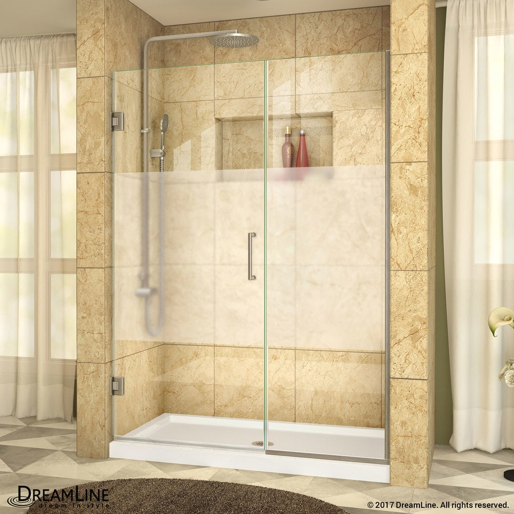 Dreamline Unidoor Plus 455 46wx72h Hinged Half Frosted Glass