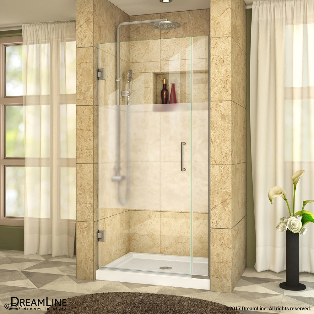 Dreamline Unidoor Plus 355 36wx72h Hinged Half Frosted Glass