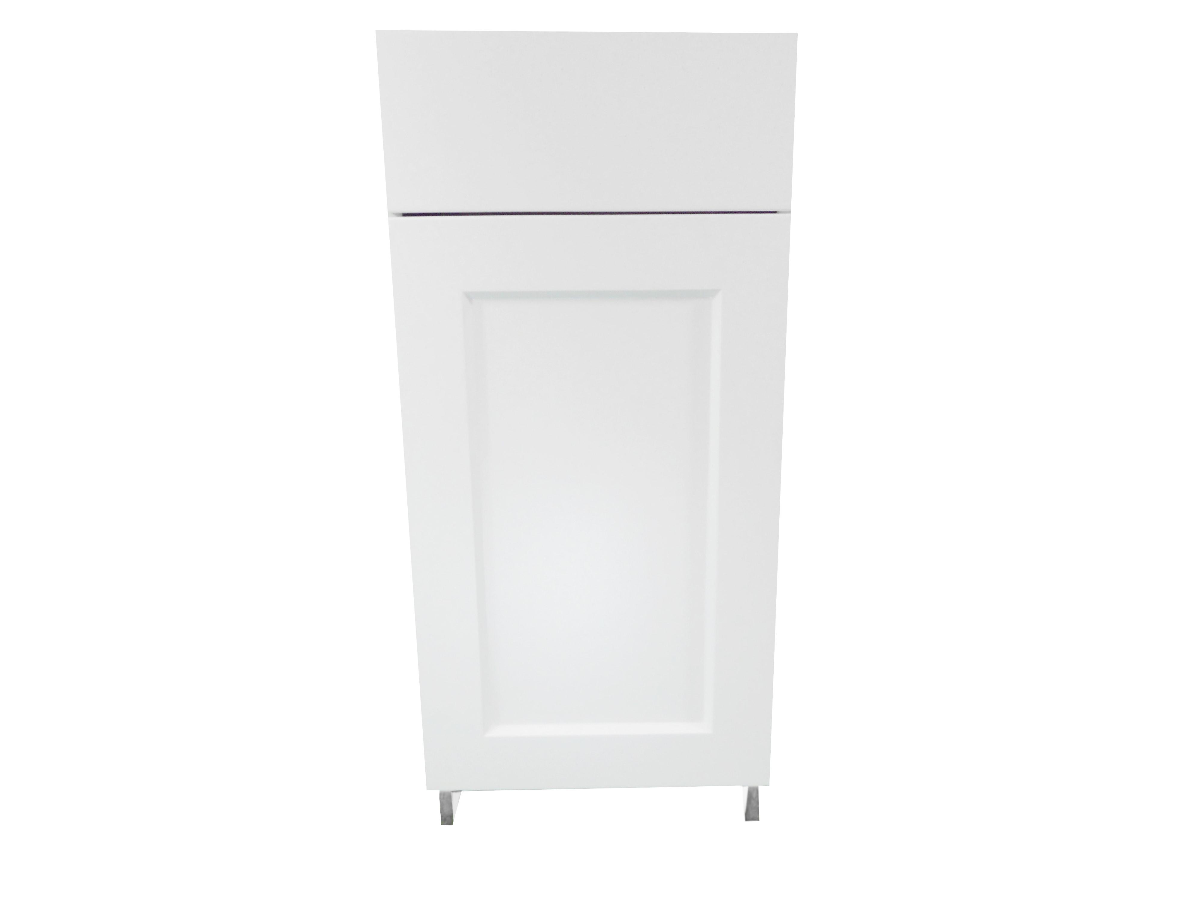 Base Cabinet with Drawer/Door / Wistler White / Flat Panel White / 15 Whistler White 0
