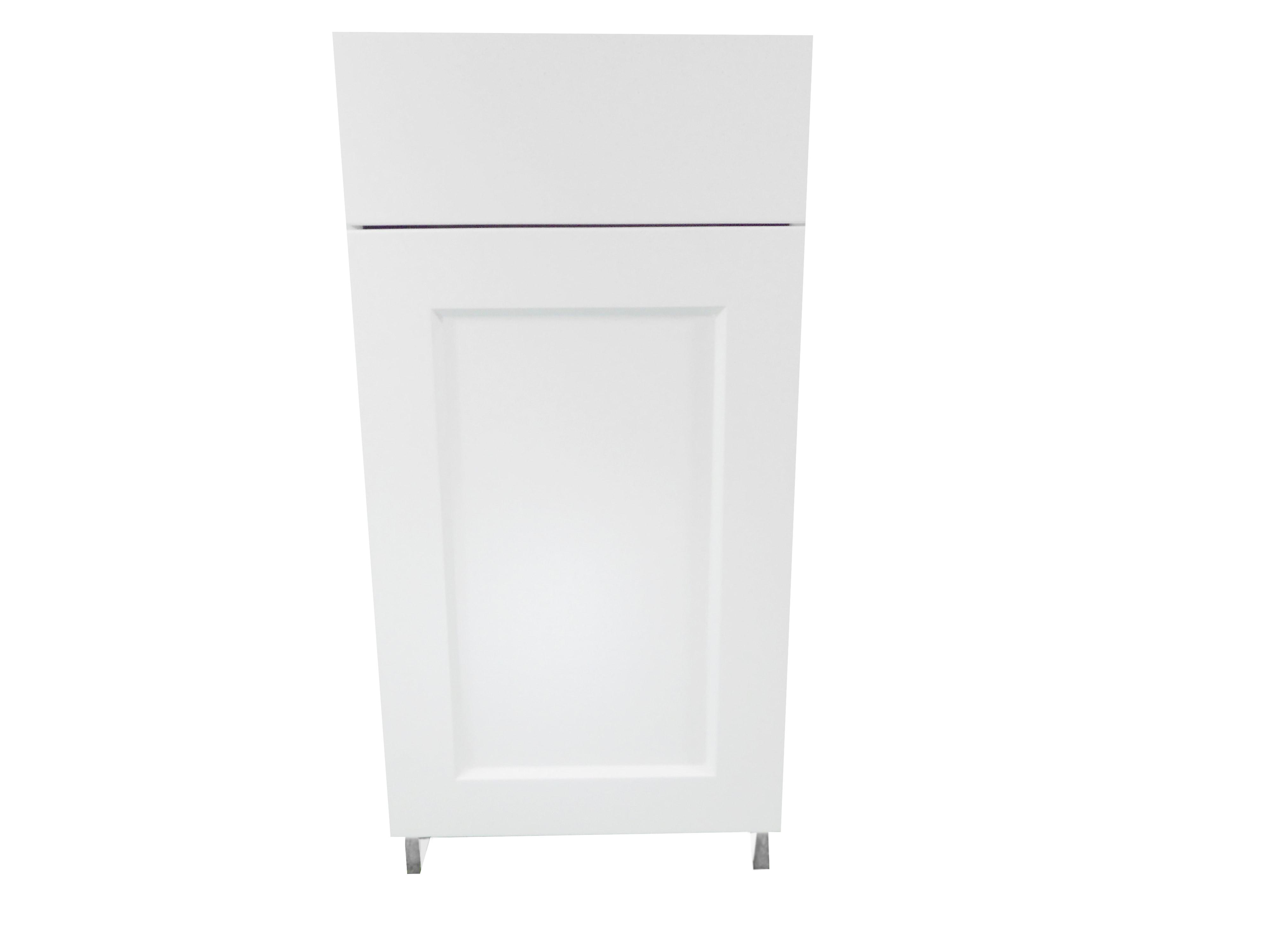 Base Cabinet with Drawer/Door / Wistler White / Flat Panel White / 18 Whistler White 0