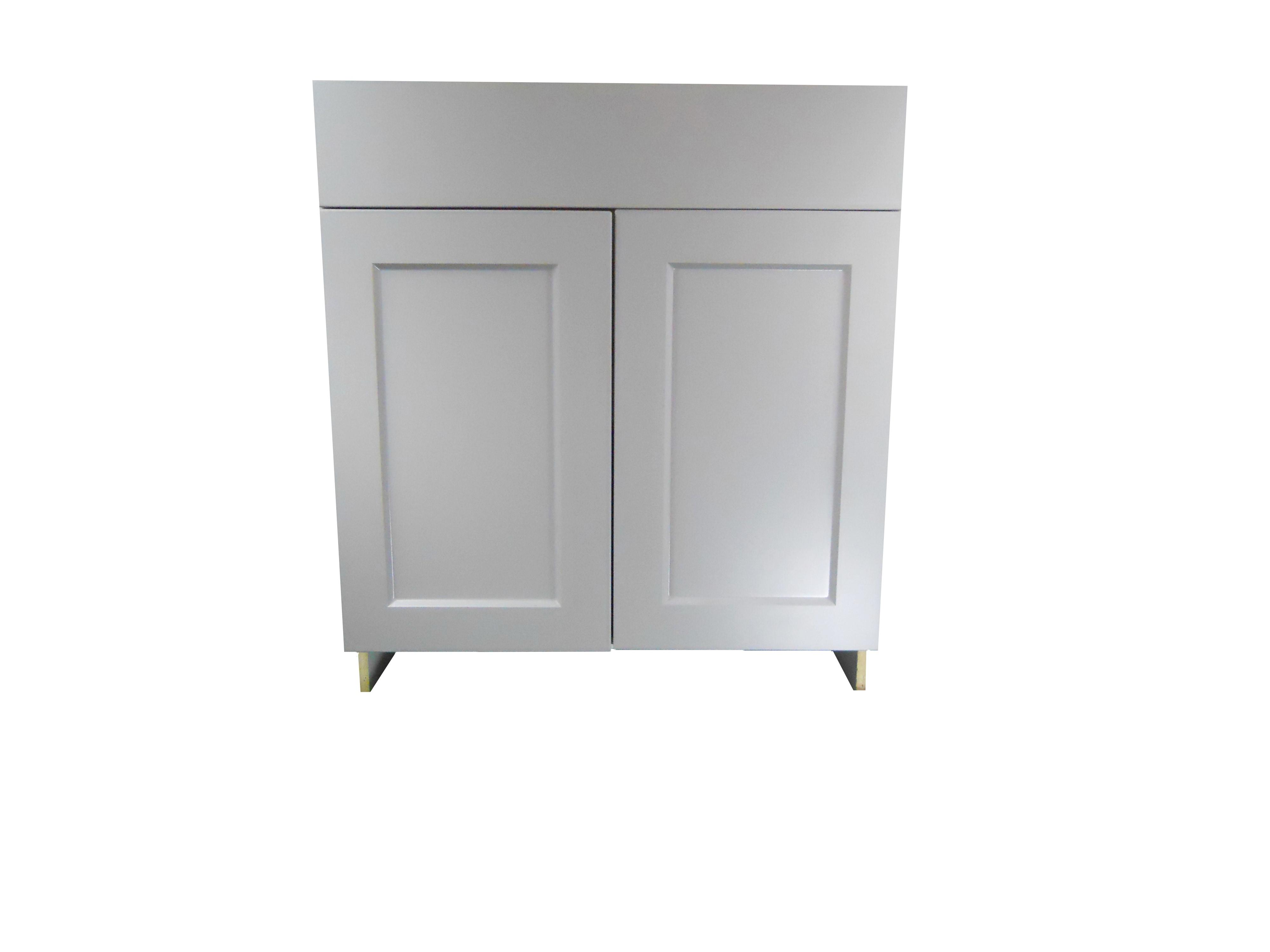 Base Cabinet with Drawer/2 Door / Whistler Grey / Flat Panel Grey / 27 Whistler Grey 0