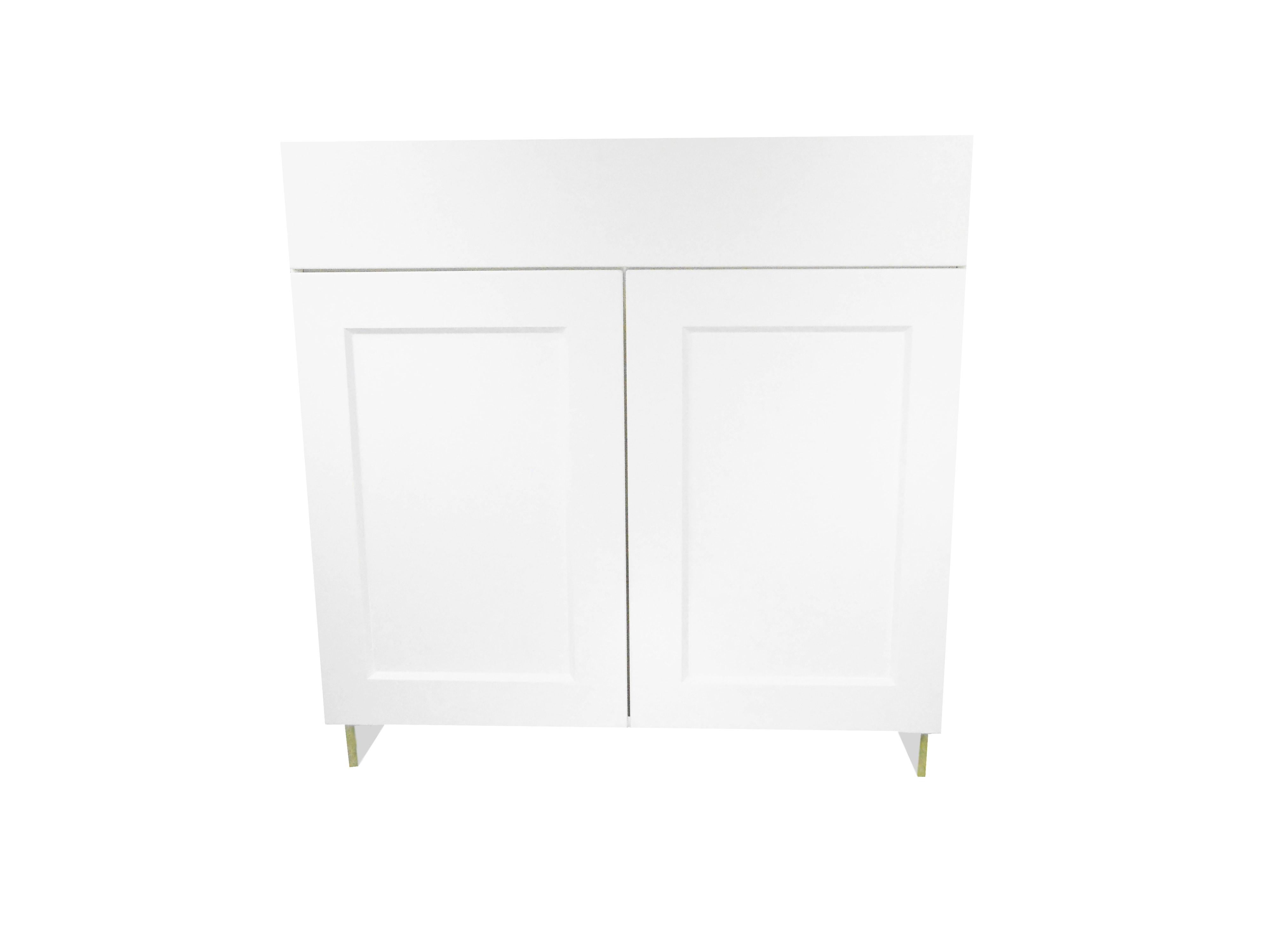 Base Cabinet with Drawer/2 Door / Wistler White / Flat Panel White / 36 Whistler White 0
