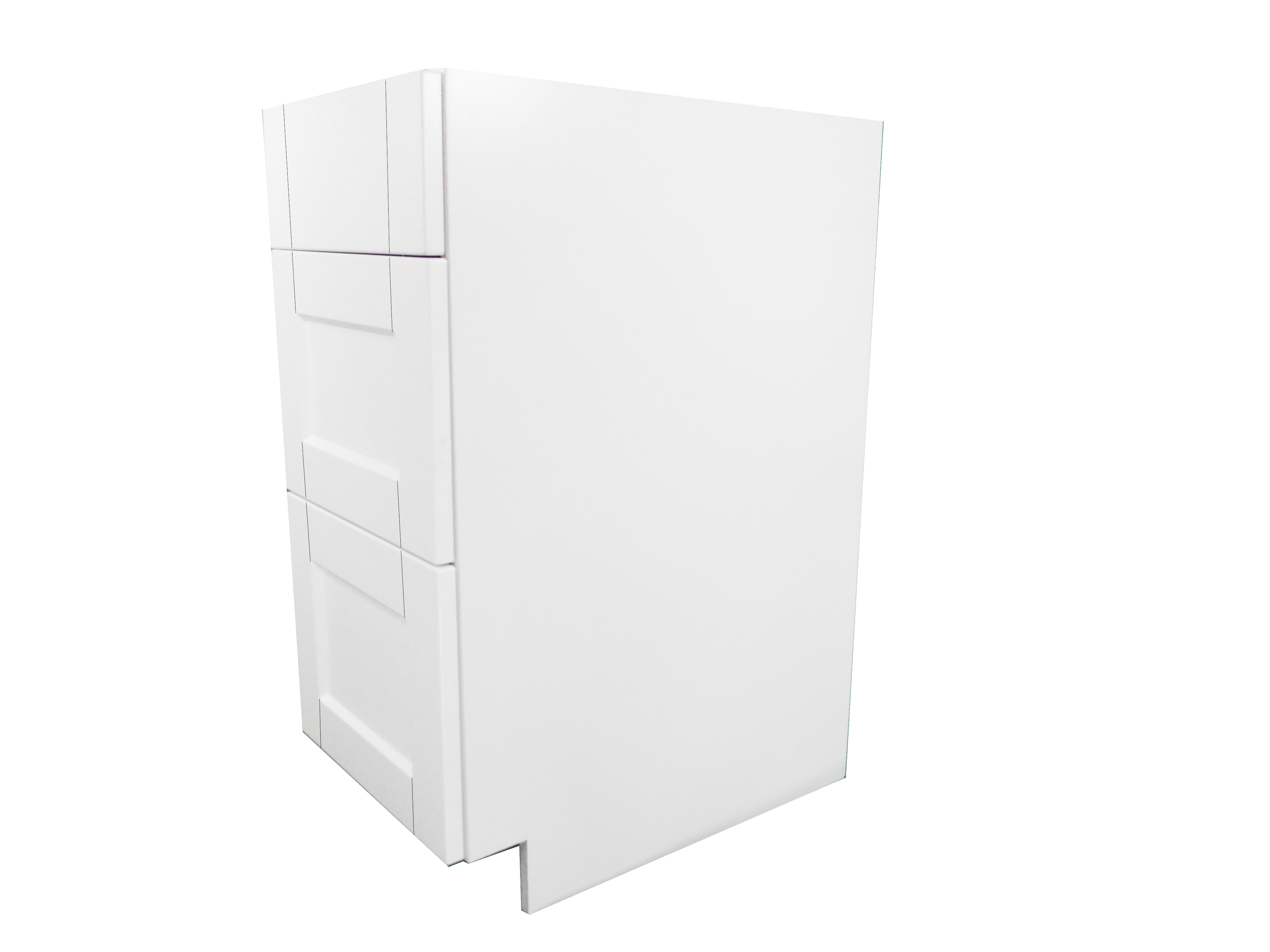 Base Cabinet 3 Drawer Bank / Flat Panel White / 15 Solaire White 0