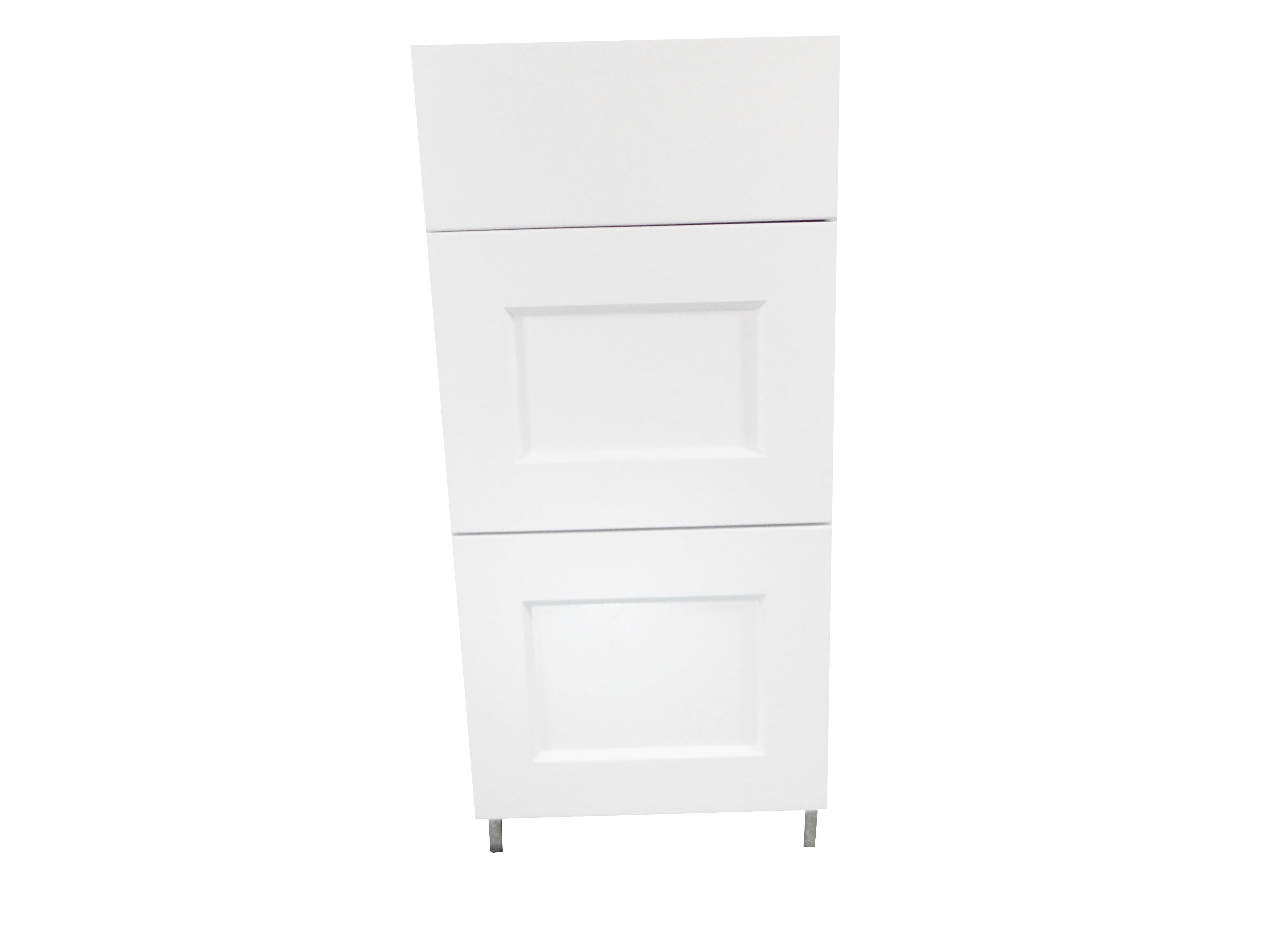 Base Cabinet 3 Drawer Bank / Wistler White / Flat Panel White / 15 Whistler White 0