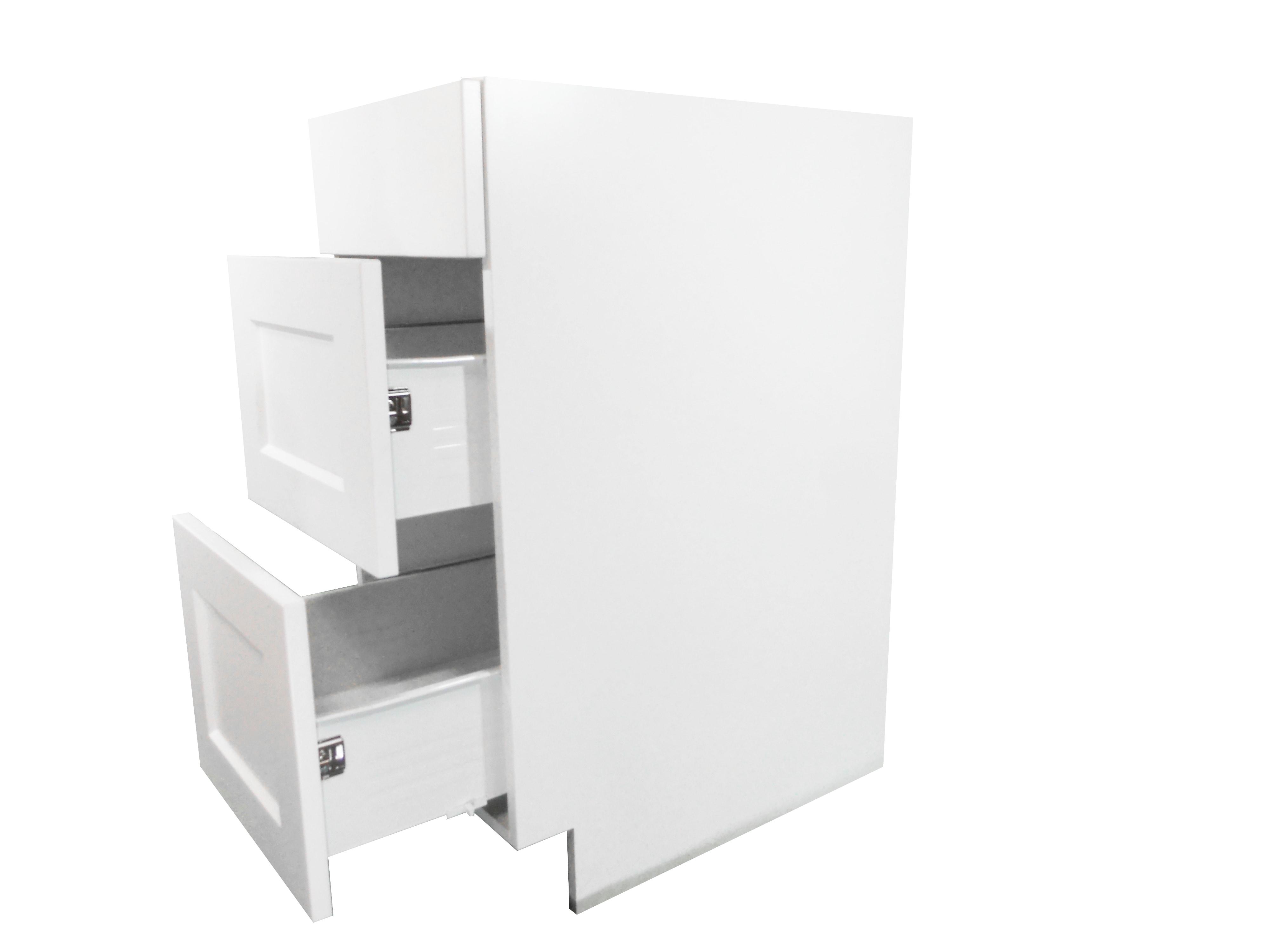Base Cabinet 3 Drawer Bank / Wistler White / Flat Panel White / 18 Whistler White 0