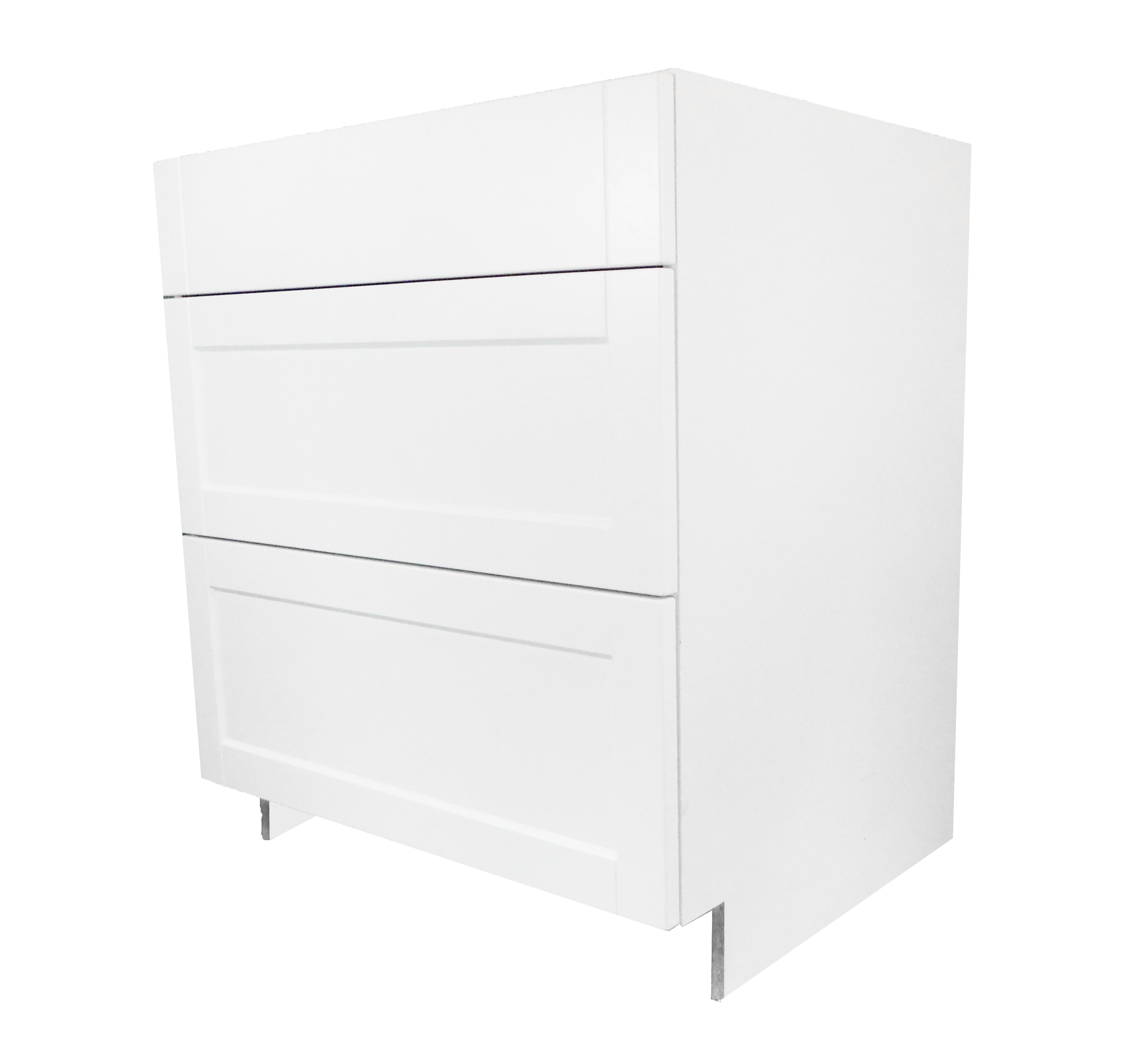 Base Cabinet 3 Drawer Bank / Flat Panel White / 30 Solaire White 0