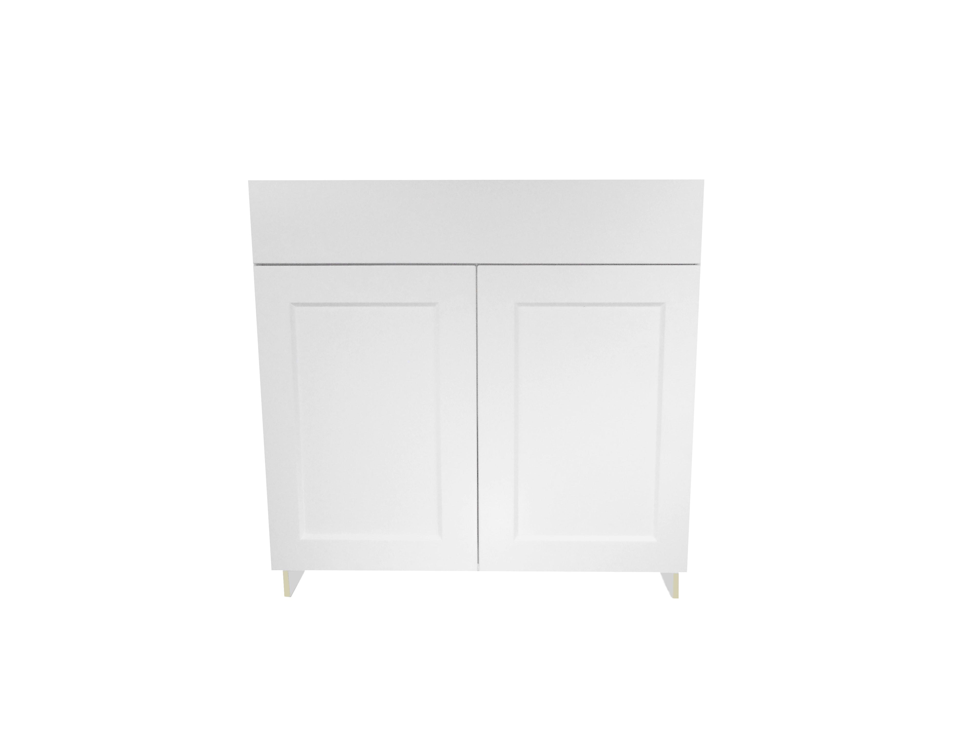 Sink Base Cabinet with 2 Door / Wistler White / Flat Panel White / 33 Whistler White 0
