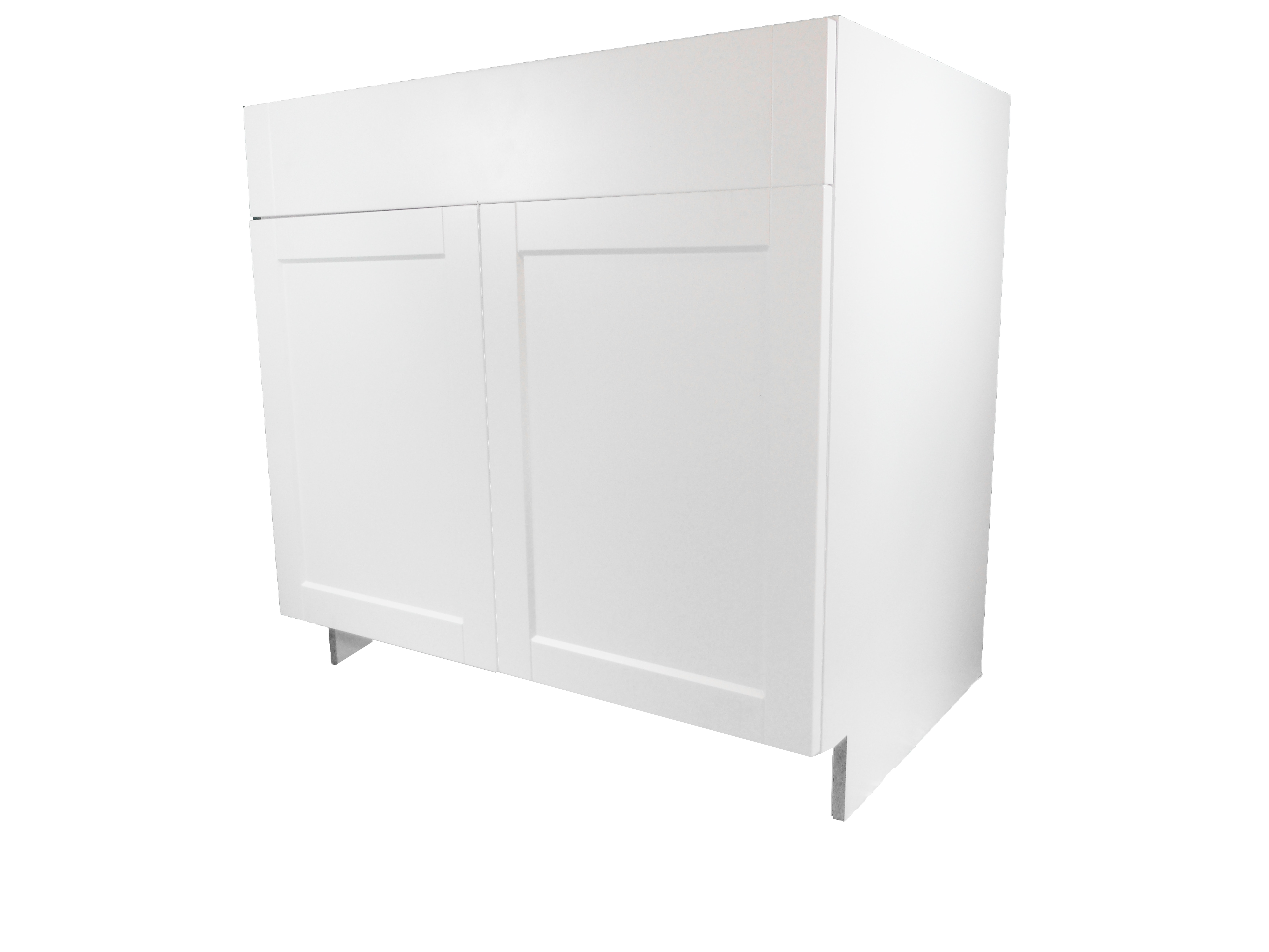 Sink Base Cabinet with 2 Door / Flat Panel White / 36 Solaire White 0