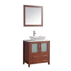 Legion Furniture 30 in. Vanity in Cherry with Marble Top and Mirror