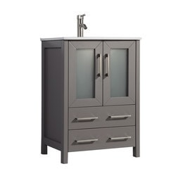 Legion Furniture 24 in. Vanity in light gray with Marble Top and Mirror