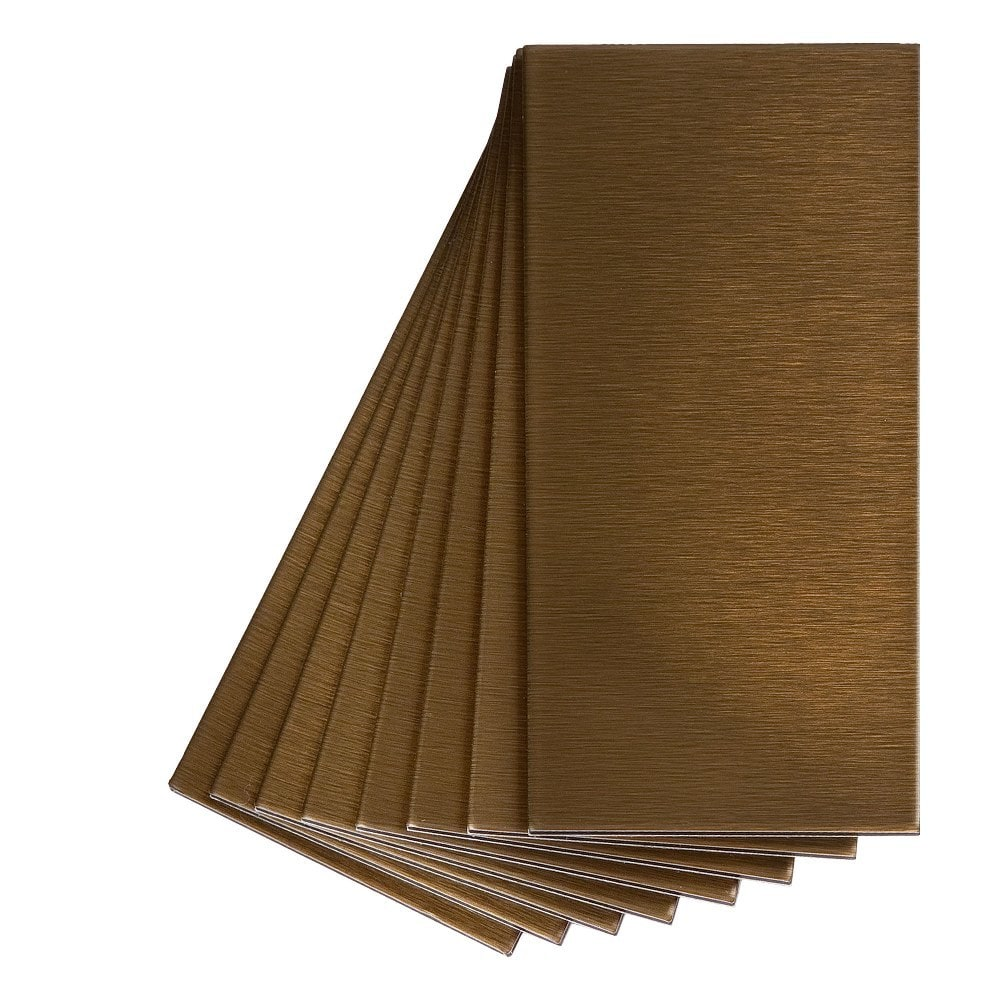 Aspect 6 x 24 inch autumn sandstone peel and stick stone backsplash - Aspect Metal Peel And Stick Backsplash Brushed Bronze