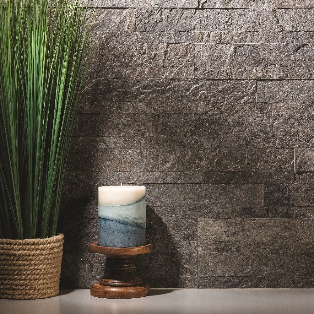 Aspect 6 x 24 inch autumn sandstone peel and stick stone backsplash - Aspect Stone Peel And Stick Backsplash Approximately 15 Sq Ft 5 9in X 23 6in Frosted Quartz