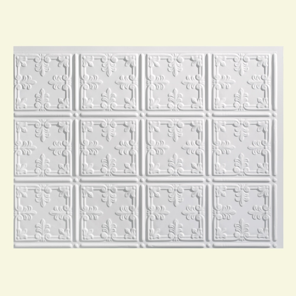 Fasade decorative vinyl gloss white backsplash panel 18 for 10 x 18 square feet