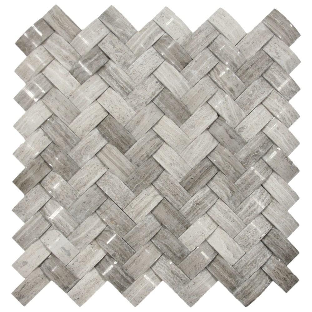 Cnk Tile Pebble Tiles 3d Polished Grey Basket Weave Stone Tile