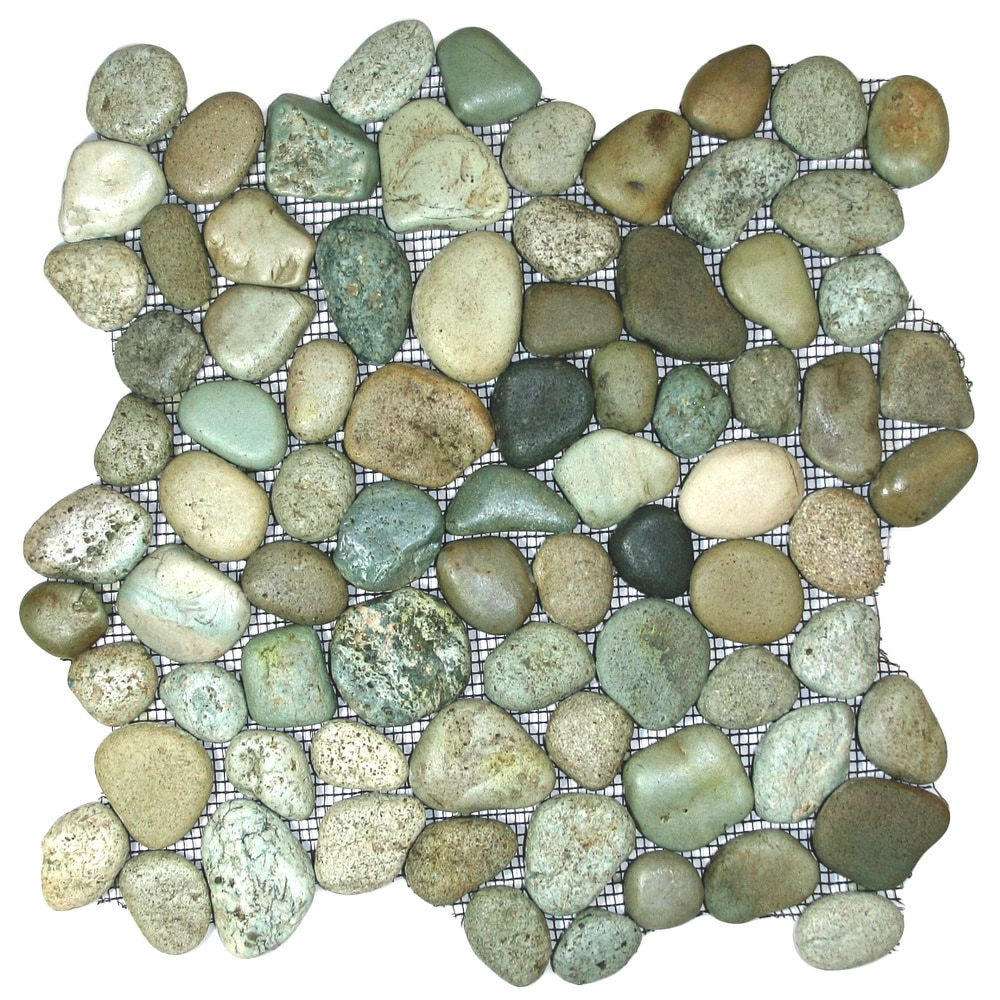 sliced green pebble tile