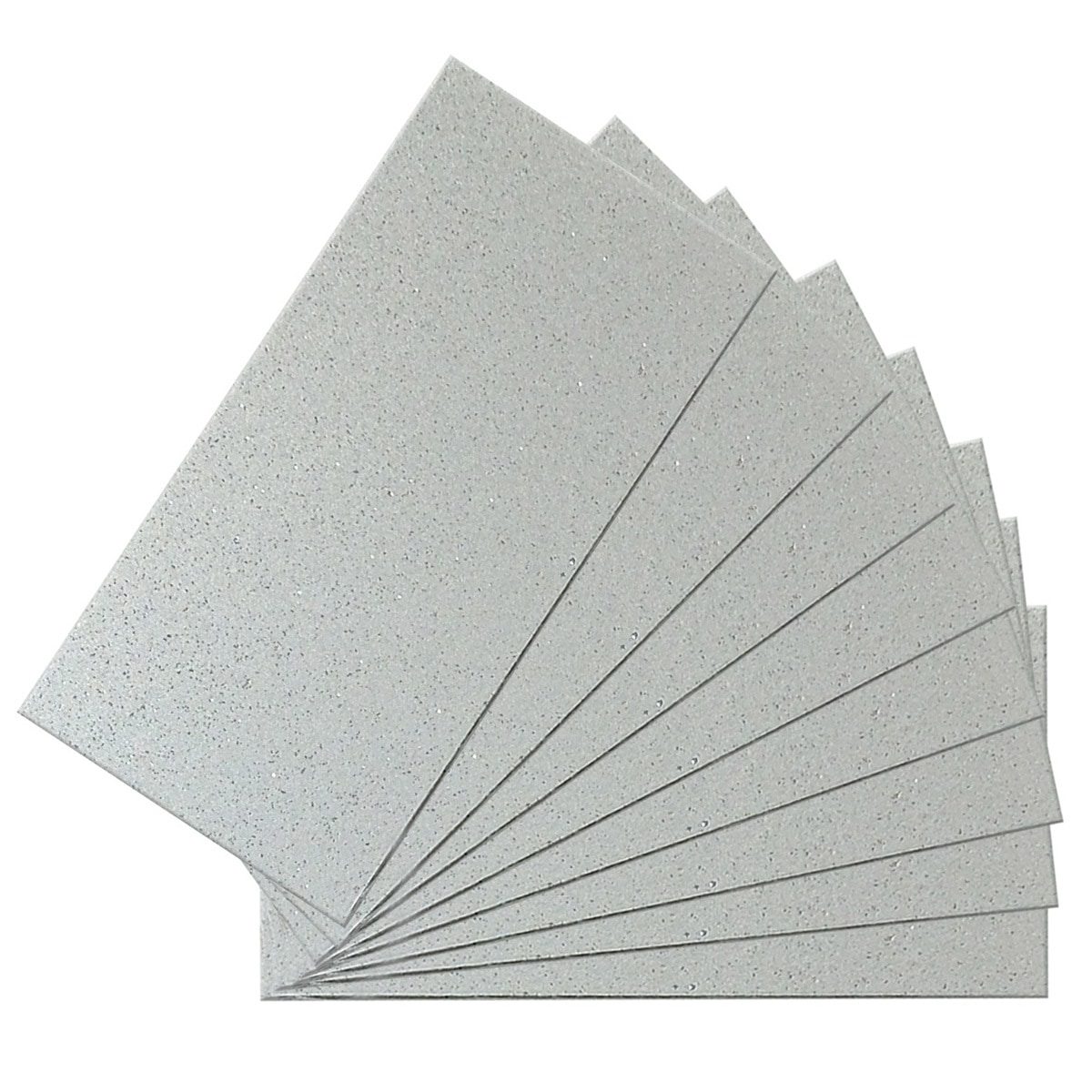 Peel and Stick Glittered Metallic Silver 6 in. x 3 in. Glass Wall Tile (48-Pack) / Glossy SkinnyTile 0