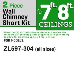 "Zline Kitchen And Bath 2 Pc 12"" Short Chimney Pieces For 7' 8' Ceilings For 597 304"""