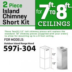 "Zline Kitchen And Bath 2 Pc 12"" Short Chimney Pieces For 7' 8' Ceilings For 597i 304"""