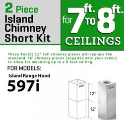 "Zline Kitchen And Bath 2 Pc 12"" Short Chimney Pieces For 7' 8' Ceilings For 597i"