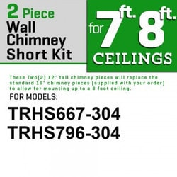 "Zline Kitchen And Bath 2 Pc 12"" Short Chimney Pieces For 7' 8' Ceilings For 667/697 304"""