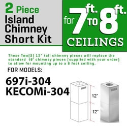"Zline Kitchen And Bath 2 Pc 12"" Short Chimney Pieces For 7' 8' Ceilings For 697i/kecomi 304"""